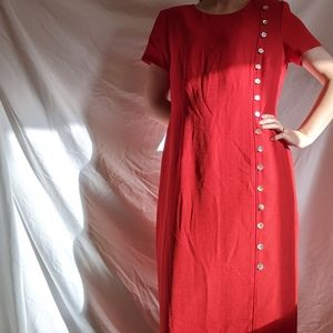 Vintage button red polyester sheath dress